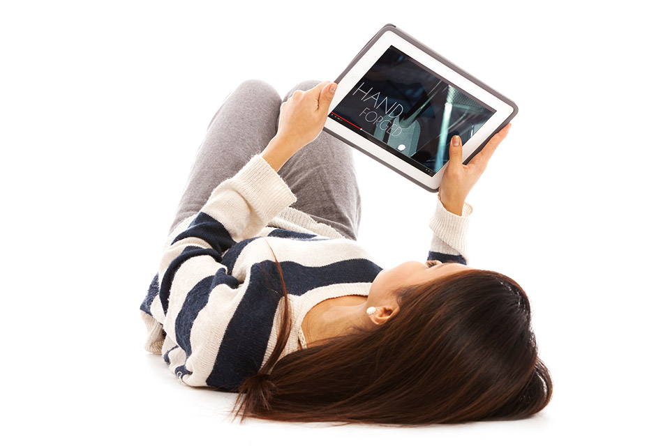 Girl watching product videos