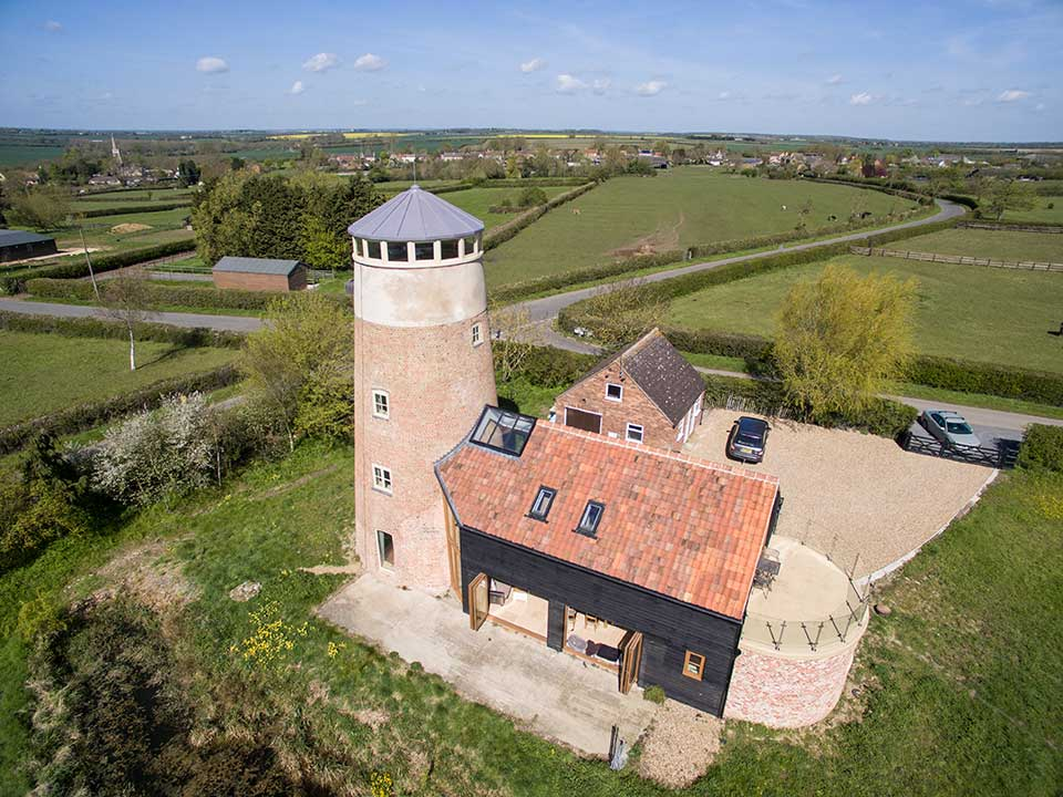 Aerial drone photography Cambridgeshire - Mill renovation