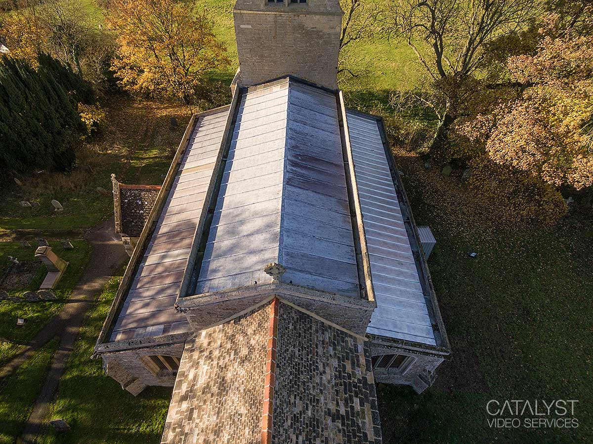 Aerial Survey Photography Of Church Roof Repair Video