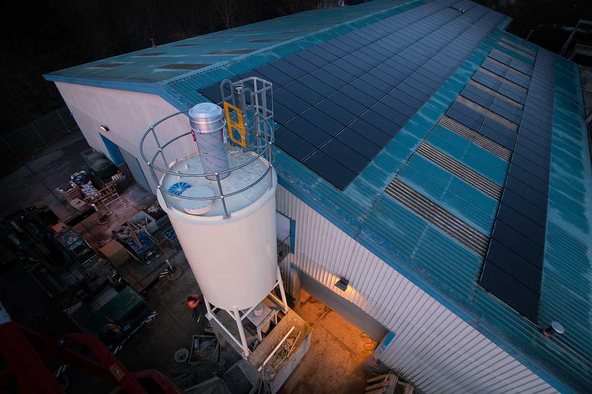 Aerial drone photo of silo installation
