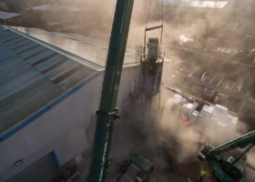 Aerial drone photo of silo demolition