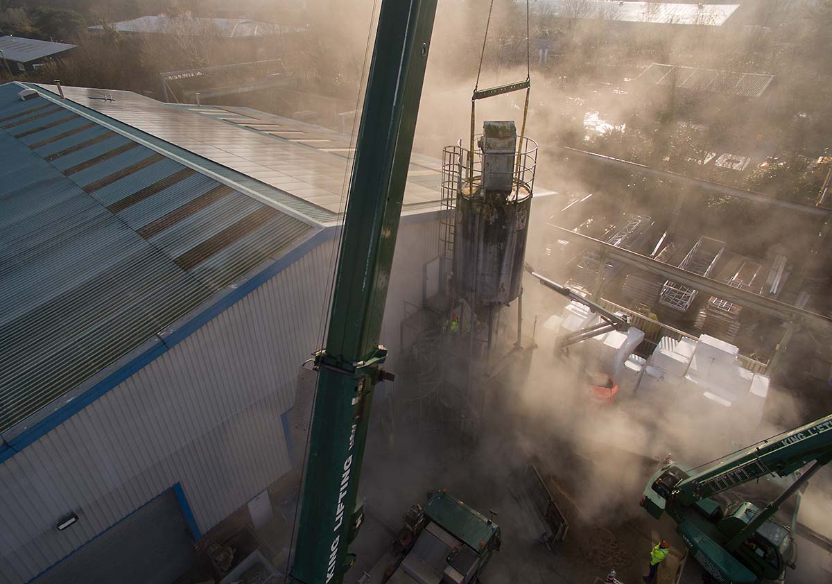Aerial drone photography Cambridgeshire - silo demolition