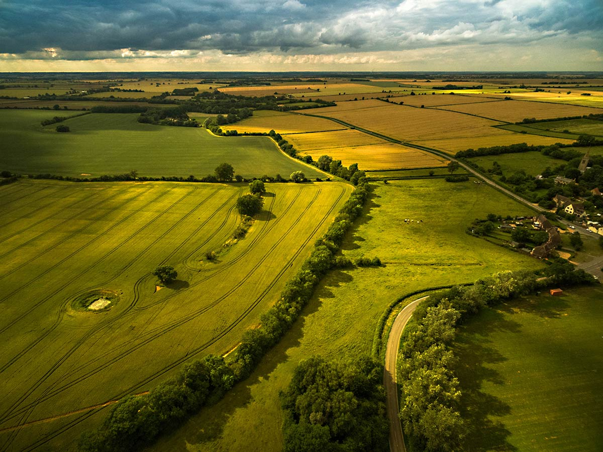Aerial photography - Cambridgeshire farmland