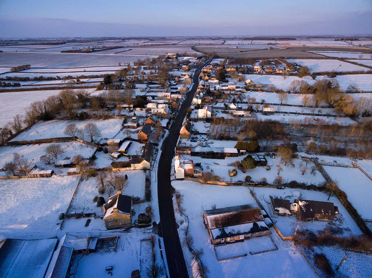aerial drone photography in winter conditions