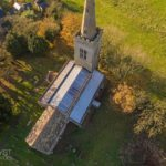 Aerial photography of church roof repair