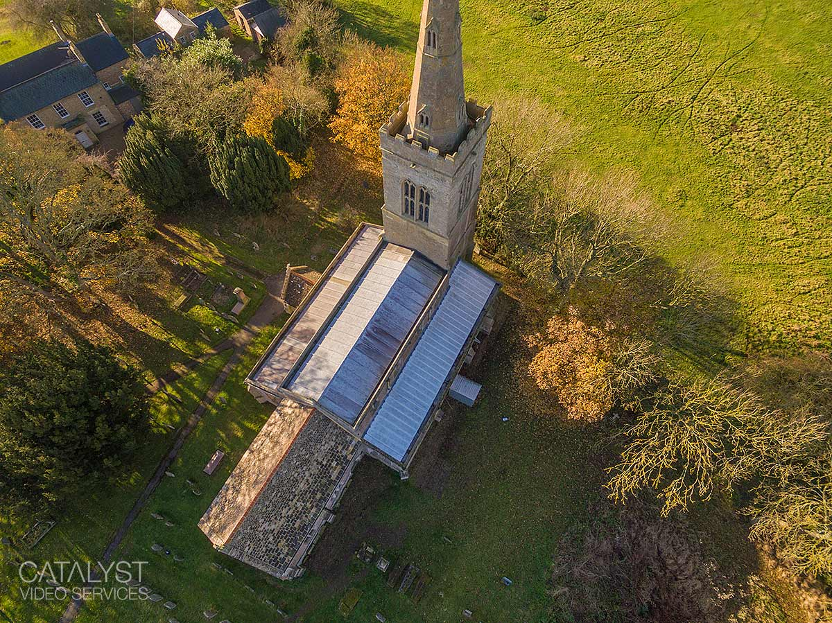 Aerial property photography of church roof repair