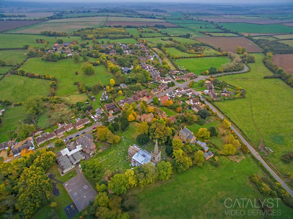 Aerial view of English village