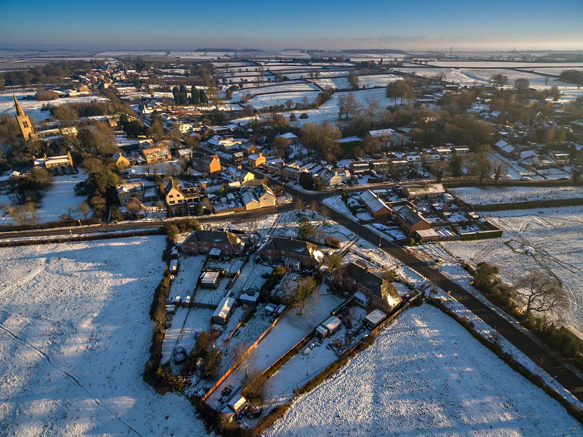 Winter aerial photography