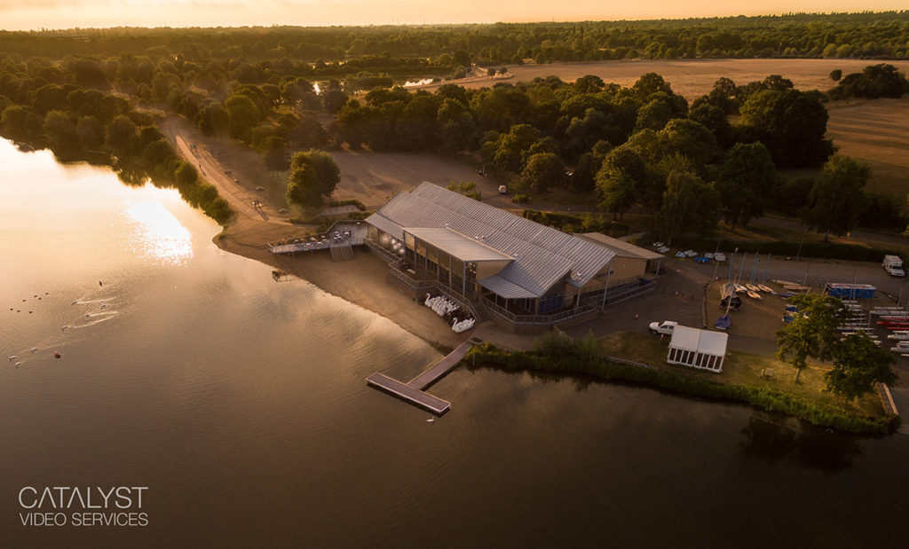 Aerial photography of Ferry Meadows restaurant facility in Cambridgeshire
