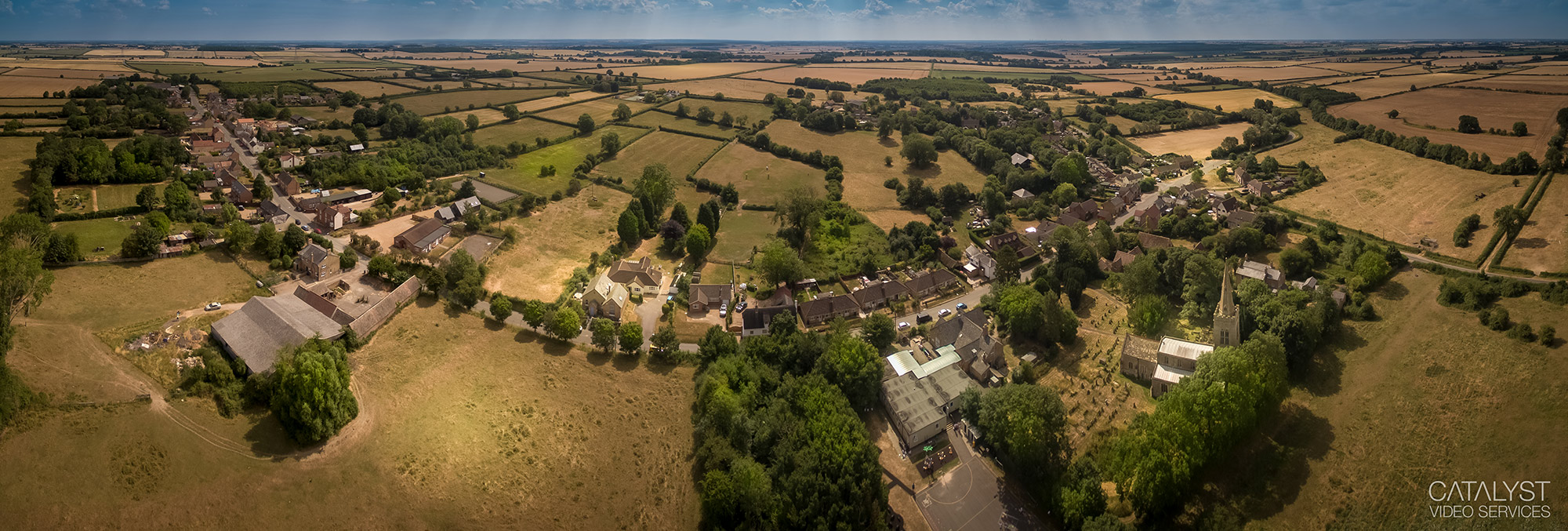Aerial panorama of village in Cambridgeshire