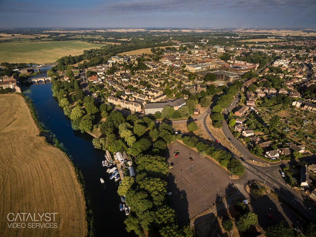 Aerial photography of Huntingdon, Cambridgeshire