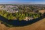 Aerial drone panorama of Huntingdon, Cambs