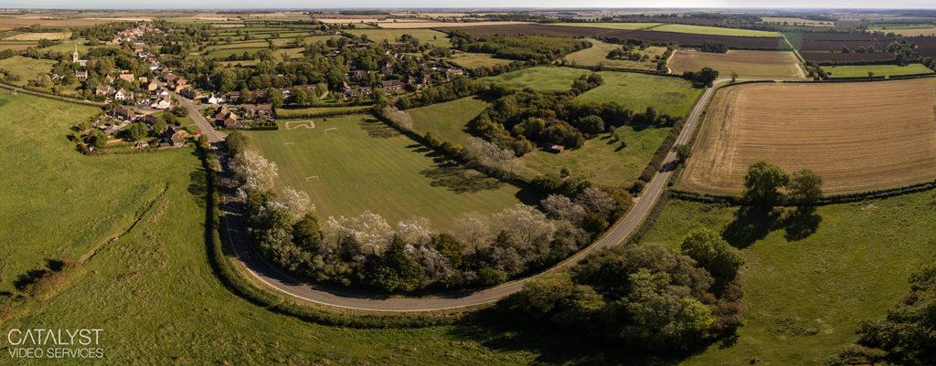 Aerial panorama of village in Cambridgeshire
