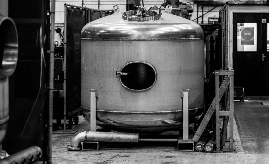 Photography of stainless steel water vessels for engineering company