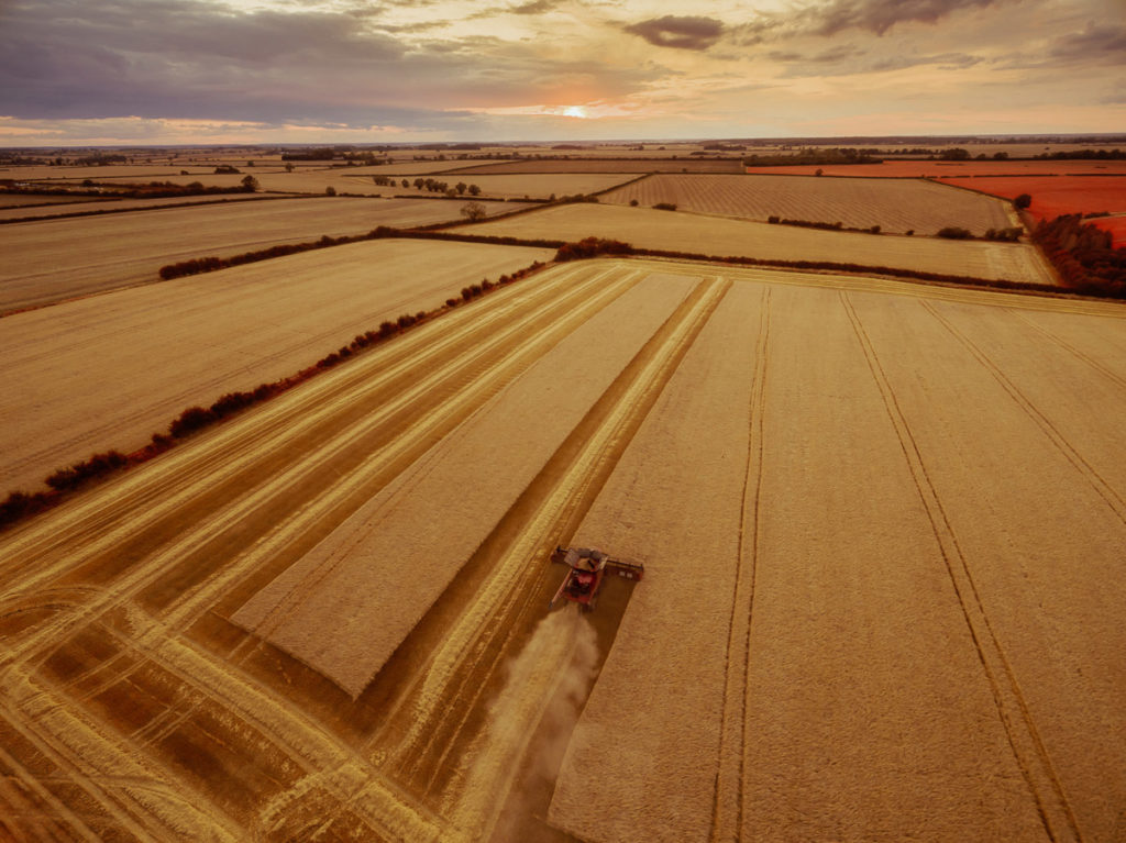 Aerial drone photography of harvesting and farming operations in Cambridgeshire