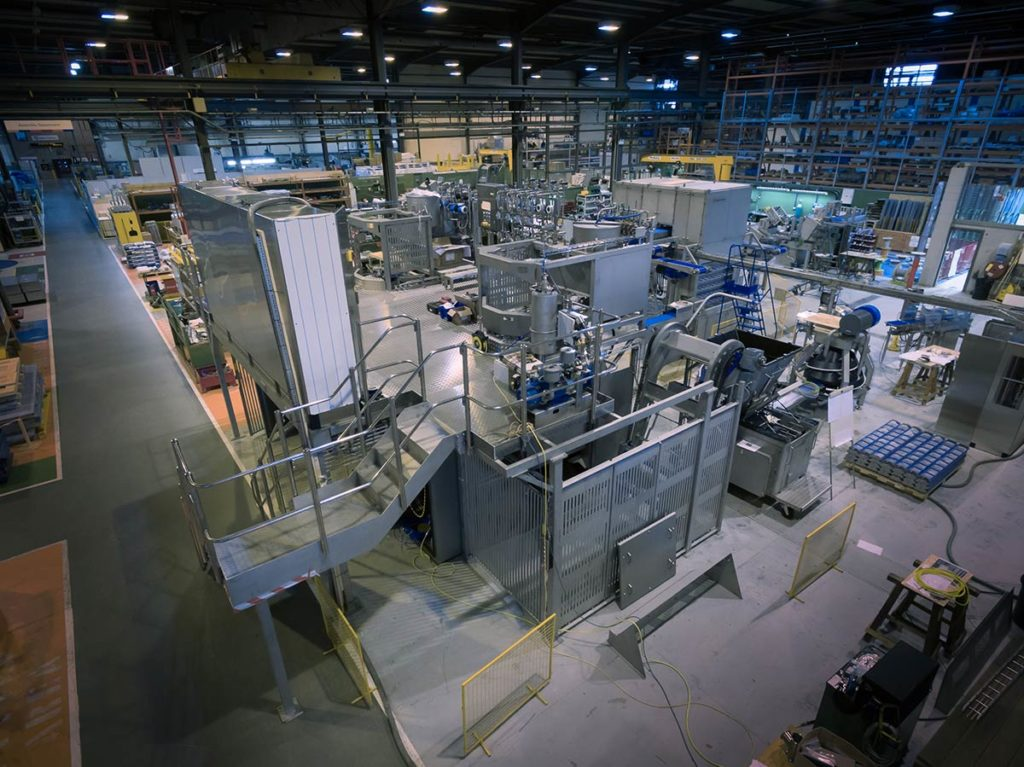 Aerial photography inside engineering factory