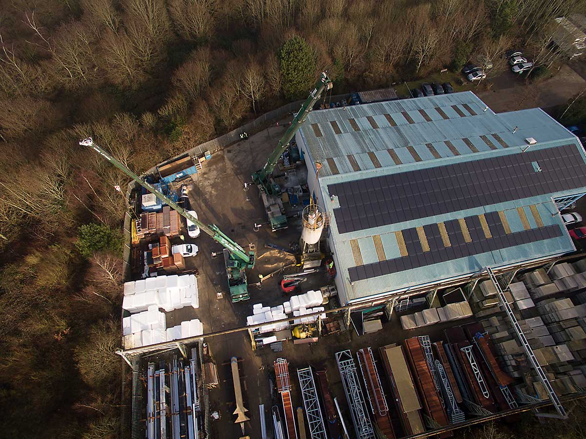Aerial photography of silo installation