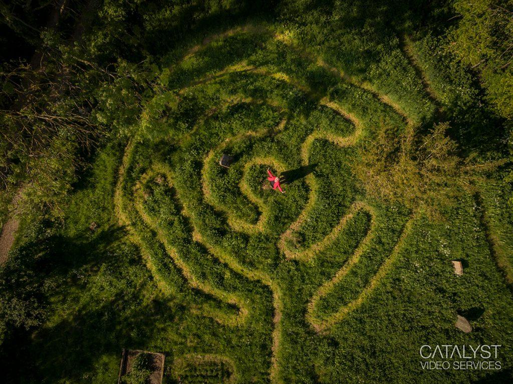 Aerial photograph of Luddington maze