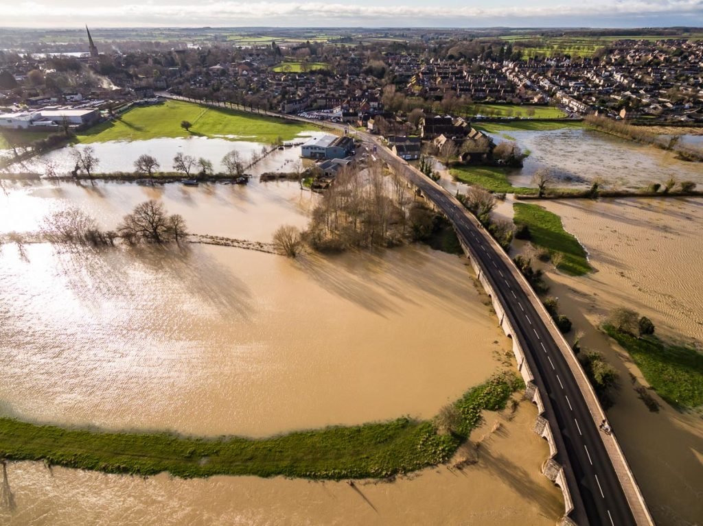 aerial HDR photography of December 2020 floods in Oundle