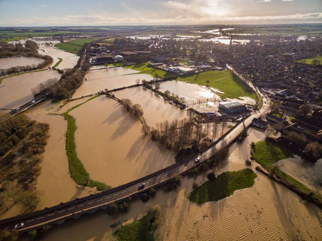 Drone aerial HDR photography of December 2020 floods in Oundle