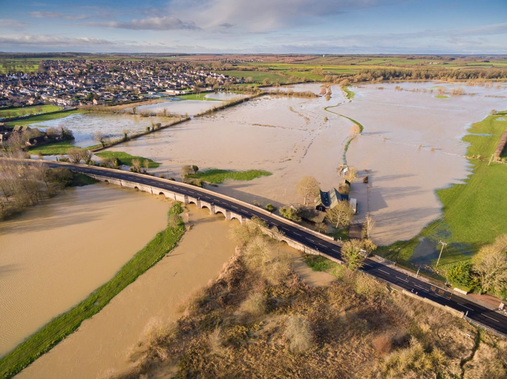 Drone photography of December 2020 floods in Oundle
