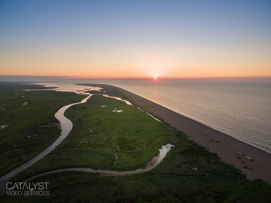 Aerial photograph of Cley Beach, North Norfolk