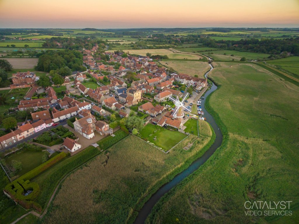 Aerial rone photograph of Cley Windmill, North Norfolk