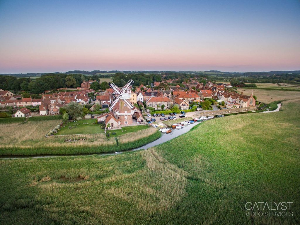 Aerial drone photograph of Cley Windmill, Cley next the Sea, Norfolk