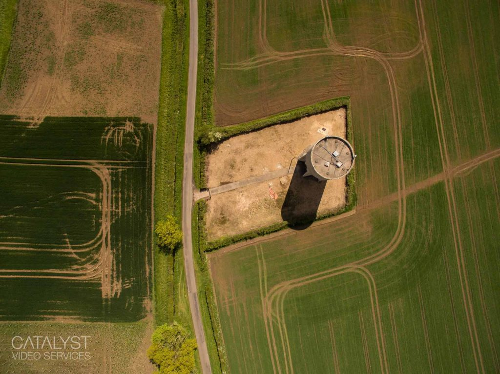 aerial photograph of water tower, Northamptonshire